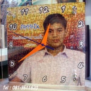035-รูปโมเสก 8x8 นิ้ว กรอบอะคริลิค 2 ชั้น ใส่นาฬิกา