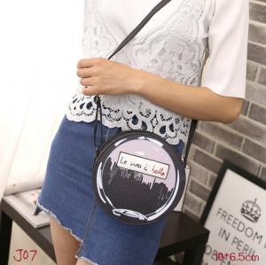 J07-กระเป๋าแฟชั่นเกาหลีทรงกลม สีดำ