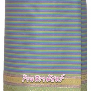 """ผ้าถุงป้ายข้าง-ผ้าไหมฯ M3 สีฟ้า (เอวใส่ได้ถึง 36"""") *รายละเอียดในหน้าสินค้า"""