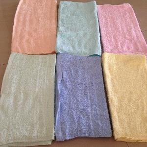 ผ้าขนหนู Cotton100% ผ้าเช็ดผม สีหวาน 1.9ปอนด์ คละสี 15*30นิ้ว โหลละ 270บาท ส่ง 20โหล