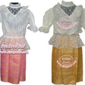 """ชุดไทยเสื้อลูกไม้แขนสั้น+ผ้าถุงสั้น (ระบุ size เสื้อ / ผ้าถุงสั้น เอว-30"""") รายละเอียดในหน้าสินค้า"""