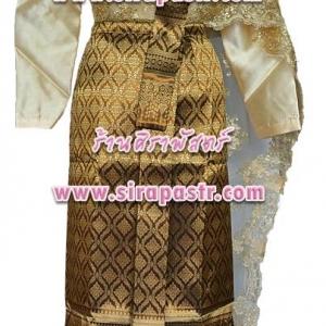 ชุดไทย TH1 (เสื้อฯ+สไบลูกไม้+ผ้าถุงฯ เอวใส่ได้ถึง 27 นิ้ว) *รายละเอียดในหน้าสินค้า