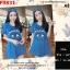F9831 Dress เดรสกระโปรง แขนสั้น มีโบว์ผูกผม สกรีนลาย KENZO สีน้ำเงิน thumbnail 1