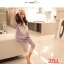 c2711 เซ็ทสื้อ + กางเกง แขนขายาวรูปหัวใจ สีม่วง thumbnail 1