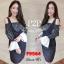 F9564 Dress Set เซทเอี๊ยม กระโปรง พร้อมเสื้อตัวใน ปาดไหล่ ชายระบาย กระโปรงใส่ยางหลัง สีดำ thumbnail 2