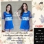 F11607 Dress 2 Pices ผ้าชีฟองแขนสั้น สีน่้ำเงิน thumbnail 1