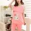 c3002 เซ็ทเสื้อ + กางเกงขาสั้นลายกระต่าย สีชมพู thumbnail 4
