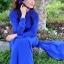 ชุดเวียดนามผู้หญิง สีน้ำเงิน (งานสั่งตัดพิเศษ) thumbnail 3