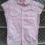 เสื้อสีชมพู Polka dot ลายจุดขาว มีเย็บที่เอว size S ใส่แล้วดูหวานและเก๋ไก๋ thumbnail 1