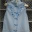 เสื้อคอจีน สีฟ้า ผ้า cotton ปักลวดลายดอกไม้สวย ใส่สบาย Made in Hongkong thumbnail 1