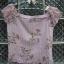 เสื้อแฟชั่นสีม่วงอ่อน ลายดอกไม้ และลายทางยาวสีขาว แขนตุ๊กตา ใส่สวยน่ารัก สม๊อคด้านหลัง thumbnail 1