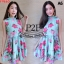 F9660 Dress เดรสแขนกุด คอจีน สีเขียวมิ้น ลายดอกกุหลาบ แต่งระบาย 2 ชั้น มีซิปหลัง thumbnail 2
