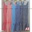 F10104 Maxi Dress ลายสก๊อต สีโอรส แต่งชายระบาย เพิ่มกระเป๋าข้าง ใส่ยางหลังที่อก thumbnail 3