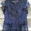 (หมดแล้วจ้า!!) เสื้อชีฟอง สีน้ำเงินเข้มจ้า มีลูกไม้ด้านหน้า แขนเป็นระบาย ชายเสื้อเป็นลูกไม้ ดูดี ยี่ห้อ arnaldo bassini thumbnail 1