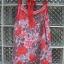 เสื้อแฟชั่นสายเดี่ยว ผ้าชีฟอง สีแดงลาบดอก สวยสด ชายมีระบายด้วยผ้าสีเทาเก๋ พริ้ว ใส่สบาย thumbnail 1