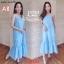 F10103 Maxi Dress ลายสก๊อต สีฟ้า แต่งชายระบาย เพิ่มกระเป๋าข้าง ใส่ยางหลังที่อก thumbnail 2