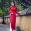 ชุดเวียดนามผู้หญิง สีไวน์แดง (งานสั่งตัดพิเศษ) thumbnail 2