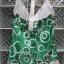 เสื้อแฟชั่นสีเขียวลายวงกลม สายเดี่ยว ผ้ามันลื่น นิ่ม สวยดูดี ผูกโบว์ที่ต้นคอด้านหลัง Made in USA thumbnail 3