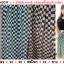 กระโปรงชีฟองลายตารางสี่เหลี่ยม สีโอรส-ดำ 1F thumbnail 1