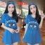 F9831 Dress เดรสกระโปรง แขนสั้น มีโบว์ผูกผม สกรีนลาย KENZO สีน้ำเงิน thumbnail 2