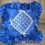 ปลอกหมอนอิงสี่เหลี่ยม ลายตาราง สีน้ำเงิน ดิ้นเงิน โบว์เงิน ติดเลื่อมลายดอกแก้ว มีระบายรอบ ทำจากผ้าต่วน thumbnail 3