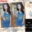 F9828 Dress เดรสกระโปรงกล้าม พิมพ์ลาย KENZO Paris มีผ้าผูกผม เข้าุชุด สีน้ำเงิน thumbnail 1