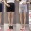 c6614 กางเกงคนท้อง สีกรม ขาสั้น มีซัพพลอตท้องค่ะ ปรับเอวได้ thumbnail 1