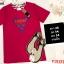 F10191 เสื้อยืดคอกลม แขนสั้น ปักลาย GUESS สีแดงสด thumbnail 1