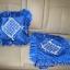 ปลอกหมอนอิงสี่เหลี่ยม ลายตาราง สีน้ำเงิน ดิ้นเงิน โบว์เงิน ติดเลื่อมลายดอกแก้ว มีระบายรอบ ทำจากผ้าต่วน thumbnail 2