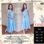 F10103 Maxi Dress ลายสก๊อต สีฟ้า แต่งชายระบาย เพิ่มกระเป๋าข้าง ใส่ยางหลังที่อก thumbnail 1