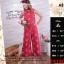 F9180 ชุดเสื้อ+กางเกง เสื้อเอวลอยแขนกุด กางเกงขายาวทรงกระบอก พิมพ์ลายดอกชาแนว สีแดง thumbnail 1