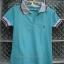 เสื้อยืดแฟชั่น สีฟ้าอมเขียว ปกขาว เล่นลวดลายน้ำเงิน-แดงที่ปก มีกระดุมหน้า สวยใส่สบาย thumbnail 1