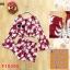 F10390 ชุด เสื้อคอกว้าง แขนยาวมีสม้อกปลายแขน มีสม้อคเอว กางเกงขาสั้นเอวยางยืด พิมพ์ลายต้นมะพร้าว สีแดง thumbnail 1
