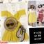 F10160 ชุดแซกกระโปรงสั้น เปิดไหล่ แต่งลูกไม้+ผ้าซีทรู สีเหลือง thumbnail 1