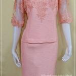ชุดผ้าไหมญี่ปุ่นแต่งด้วยลูกไม้นอก ปักเลื่อมคอ เสื้อ+กระโปรงยาว สีโอรสส้ม เบอร์ 40