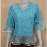 เสื้อลูกไม้ คอวี แขนระบายผ้าแก้ว ชายระบายผ้าแก้ว (สีฟ้า) เบอร์ L