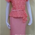 ชุดผ้าไหมสำเร็จรูป ไหมญี่ปุ่น แต่งด้วยลูกไม้นอก สีโอรสเข้ม เสื้อ+กระโปรงยาว เบอร์ 38