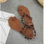 รองเท้าแตะแฟชั่น ใส่เดินชายหาดชิลๆ ทรงเก๋แบบสาวโบฮีเมียน ดูคลาสสิคไม่เบา - น้ำตาล