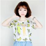 เสื้อยืดแฟชั่น สีสันสุด colorful โทนเย็นๆ สบายตา สกรีนลายน่ารักสมวัย - กล้วย