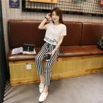 เซ็ทลำลองสบายๆ กางเกงขายาวใส่เข้ากับเสื้อยืดสกรีนลายนิดๆ ดูสวยพอดีๆ - ขาว M