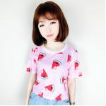เสื้อยืดแฟชั่น สีสันสุด colorful โทนเย็นๆ สบายตา สกรีนลายน่ารักสมวัย - แตงโม