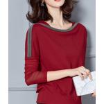 เสื้อแขนยาวแฟชั่น ตัดเย็บด้วยผ้าเนื้อดี - แดง แขนซีทรู