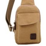 กระเป๋าเป้สะพายข้างสำหรับหนุ่มๆ ดีไซน์เท่ห์ๆ ขนาดกำลังดี - น้ำตาลอ่อน