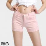กางเกงยีนส์ขาสั้นสีสันโดนๆ แฟชั่นสีสันสดใส สำหรับสาวๆ ได้ใส่ชิลๆ โชว์ขาเรียวๆ SET3 - ชมพูอ่อน