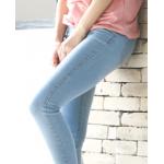 กางเกงยีนส์ขาเดฟ เข้ารูป ผ้านิ่ม ใส่สบายๆ ให้ความคล่องตัวสูง - ยีนส์ซีด
