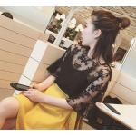 เสื้อลูกไม้แฟชั่นสวยๆ ใส่วัยไหนก็สวย มี 3 สีให้เลือกใส่ตามโอกาส - ดำ