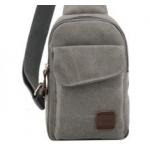 กระเป๋าเป้สะพายข้างสำหรับหนุ่มๆ ดีไซน์เท่ห์ๆ ขนาดกำลังดี - เทาอ่อน
