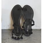 รองเท้าแตะแฟชั่น ใส่เดินชายหาดชิลๆ ทรงเก๋แบบสาวโบฮีเมียน ดูคลาสสิคไม่เบา - ดำ