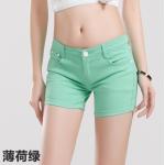 กางเกงยีนส์ขาสั้นสีสันโดนๆ แฟชั่นสีสันสดใส สำหรับสาวๆ ได้ใส่ชิลๆ โชว์ขาเรียวๆ SET3 - เขียวมินท์