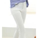 กางเกงยีนส์ขาเดฟ เข้ารูป ผ้านิ่ม ใส่สบายๆ ให้ความคล่องตัวสูง - ขาว